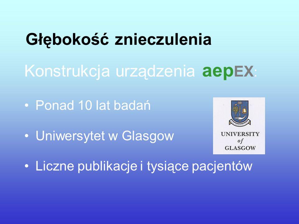 Głębokość znieczulenia Konstrukcja urządzenia aep EX : Ponad 10 lat badań Uniwersytet w Glasgow Liczne publikacje i tysiące pacjentów