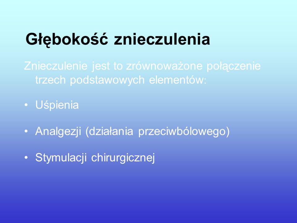 Głębokość znieczulenia Znieczulenie jest to zrównoważone połączenie trzech podstawowych elementów : Uśpienia Analgezji (działania przeciwbólowego) Sty
