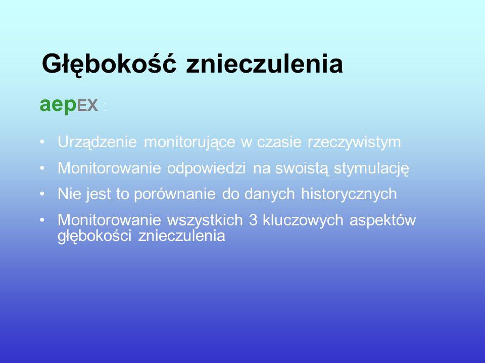 Głębokość znieczulenia aep EX : Urządzenie monitorujące w czasie rzeczywistym Monitorowanie odpowiedzi na swoistą stymulację Nie jest to porównanie do