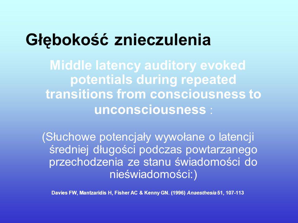 Głębokość znieczulenia Middle latency auditory evoked potentials during repeated transitions from consciousness to unconsciousness : (Słuchowe potencj