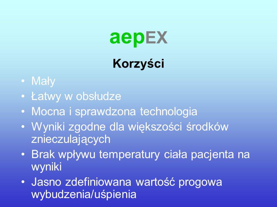 aep EX Mały Łatwy w obsłudze Mocna i sprawdzona technologia Wyniki zgodne dla większości środków znieczulających Brak wpływu temperatury ciała pacjent