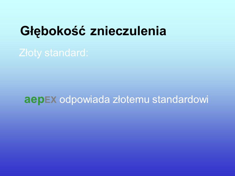 Głębokość znieczulenia Złoty standard: aep EX odpowiada złotemu standardowi