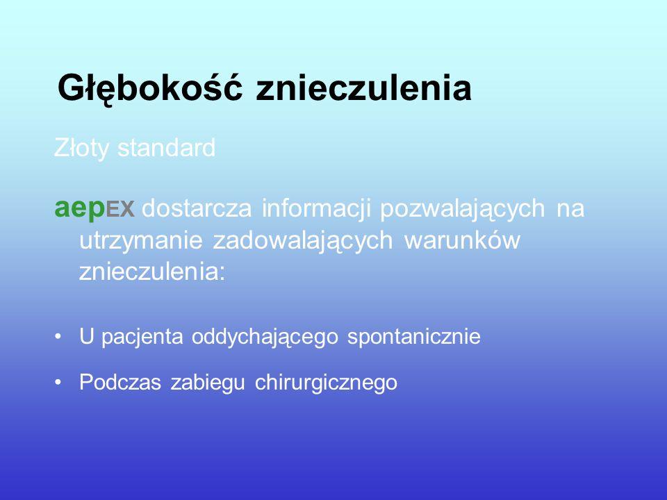 Głębokość znieczulenia Złoty standard aep EX dostarcza informacji pozwalających na utrzymanie zadowalających warunków znieczulenia: U pacjenta oddycha