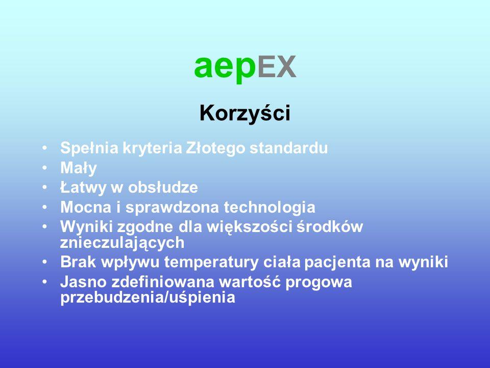 aep EX Spełnia kryteria Złotego standardu Mały Łatwy w obsłudze Mocna i sprawdzona technologia Wyniki zgodne dla większości środków znieczulających Br