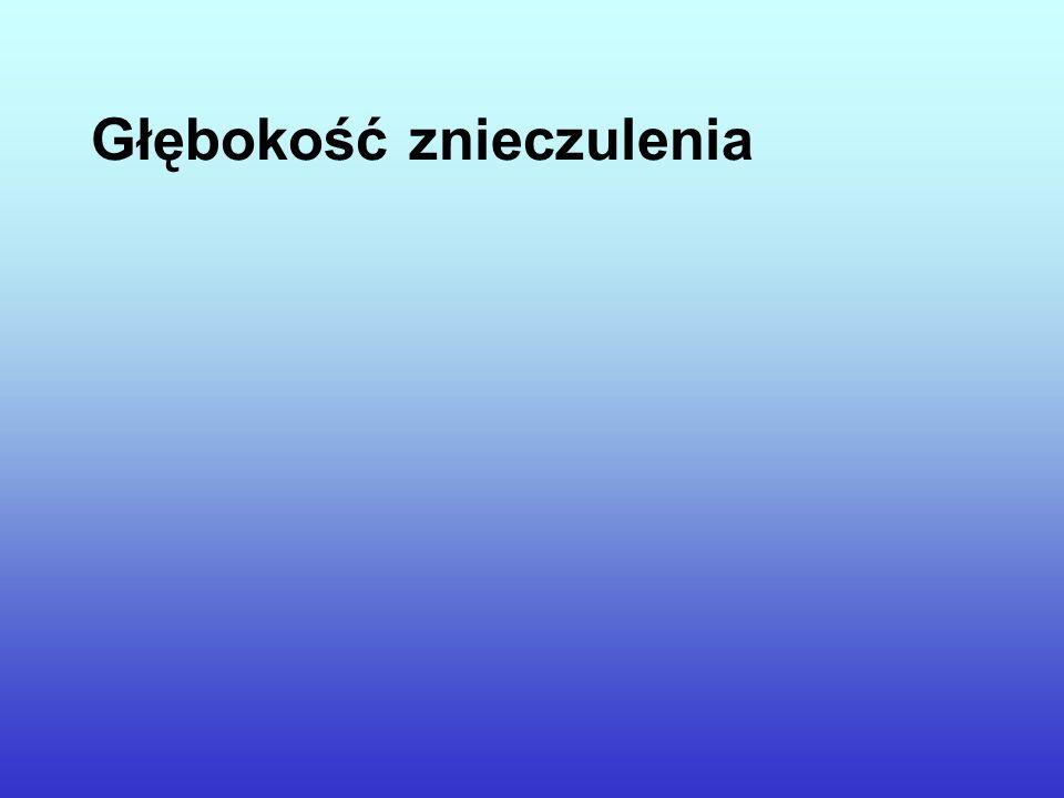 Głębokość znieczulenia Relationship between calculated blood concentration of Propofol and electrophysiological variables during emergence from anaesthesia: (Zależność między obliczonym stężeniem propofolu we krwi a zmiennymi elektrofizjologicznymi podczas wybudzania ze znieczulenia:) Doi M, Gajraj RJ, Mantzaridis H & Kenny GN.