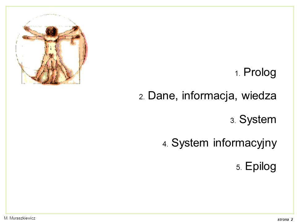 strona 2 1. Prolog 2. Dane, informacja, wiedza 3. System 4. System informacyjny 5. Epilog M. Muraszkiewicz