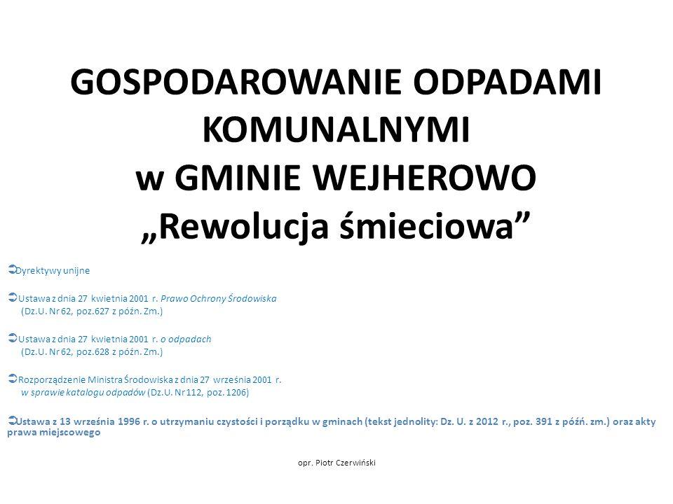 GOSPODAROWANIE ODPADAMI KOMUNALNYMI Rewolucja śmieciowa Dziękuję za uwagę! P.Czerwiński