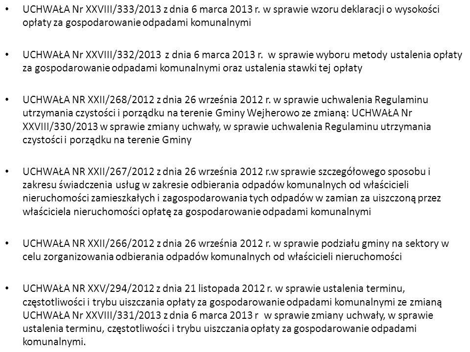 UCHWAŁA Nr XXVIII/333/2013 z dnia 6 marca 2013 r. w sprawie wzoru deklaracji o wysokości opłaty za gospodarowanie odpadami komunalnymi UCHWAŁA Nr XXVI