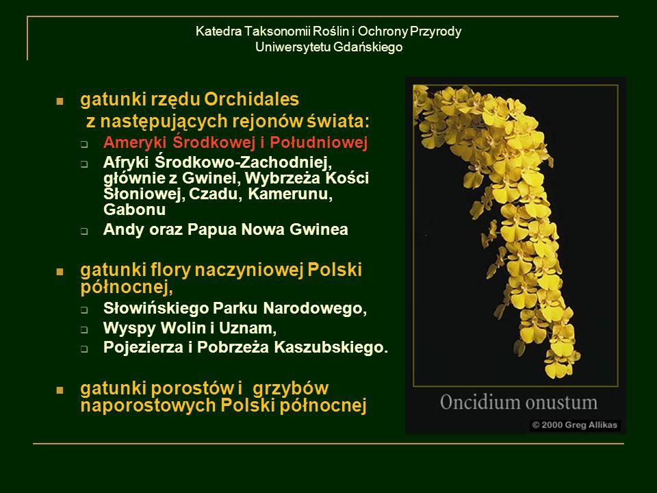 Katedra Taksonomii Roślin i Ochrony Przyrody Uniwersytetu Gdańskiego gatunki rzędu Orchidales z następujących rejonów świata: Ameryki Środkowej i Połu