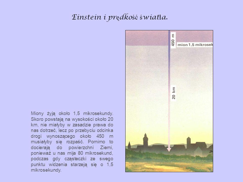 Einstein i pr ę dko ść ś wiat ł a. Miony żyją około 1,5 mikrosekundy. Skoro powstają na wysokości około 20 km, nie miałyby w zasadzie prawa do nas dot