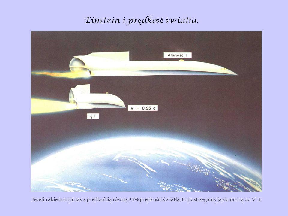 Einstein i pr ę dko ść ś wiat ł a. Jeżeli rakieta mija nas z prędkością równą 95% prędkości światła, to postrzegamy ją skróconą do V 3 I.