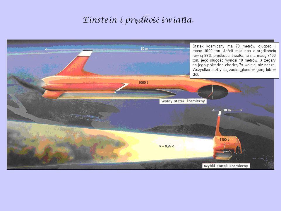 Einstein i pr ę dko ść ś wiat ł a. Statek kosmiczny ma 70 metrów długości i masę 1000 ton. Jeżeli mija nas z prędkością równą 99% prędkości światła, t