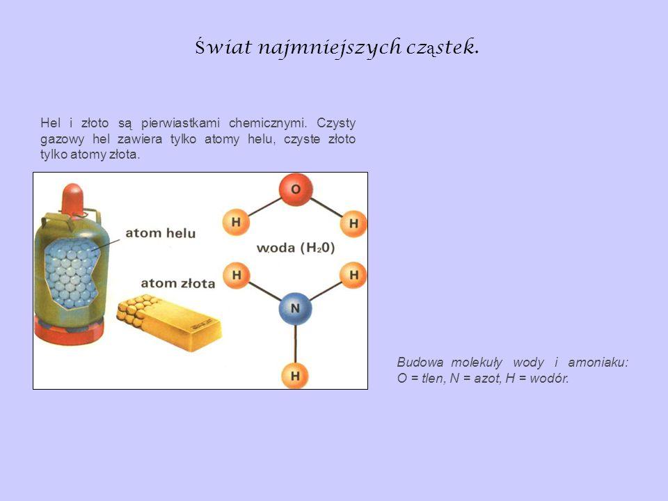 Ś wiat najmniejszych cz ą stek. Budowa molekuły wody i amoniaku: O = tlen, N = azot, H = wodór. Hel i złoto są pierwiastkami chemicznymi. Czysty gazow