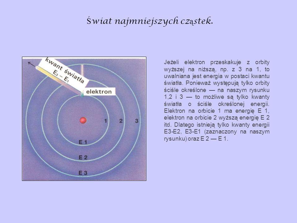 Ś wiat najmniejszych cz ą stek. Jeżeli elektron przeskakuje z orbity wyższej na niższą, np. z 3 na 1, to uwalniana jest energia w postaci kwantu świat