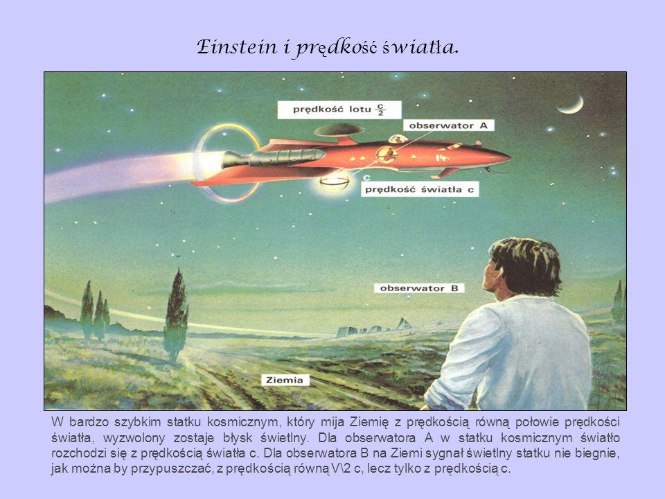 Einstein i pr ę dko ść ś wiat ł a. W bardzo szybkim statku kosmicznym, który mija Ziemię z prędkością równą połowie prędkości światła, wyzwolony zosta