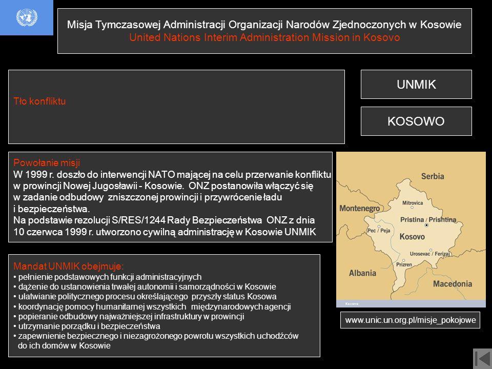 Misja Tymczasowej Administracji Organizacji Narodów Zjednoczonych w Kosowie United Nations Interim Administration Mission in Kosovo UNMIK Mandat UNMIK