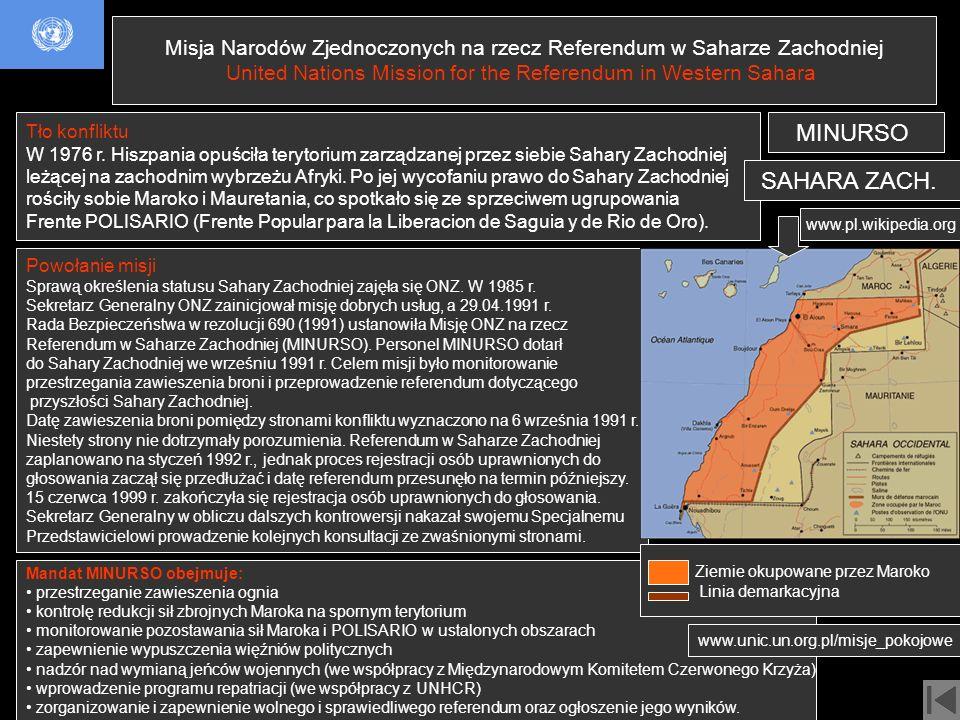 Misja Narodów Zjednoczonych na rzecz Referendum w Saharze Zachodniej United Nations Mission for the Referendum in Western Sahara Tło konfliktu W 1976