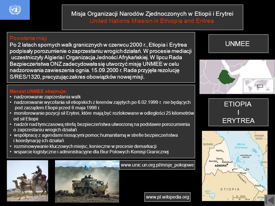 Misja Organizacji Narodów Zjednoczonych w Etiopii i Erytrei United Nations Mission in Ethiopia and Eritrea UNMEE Powołanie misji Po 2 latach spornych