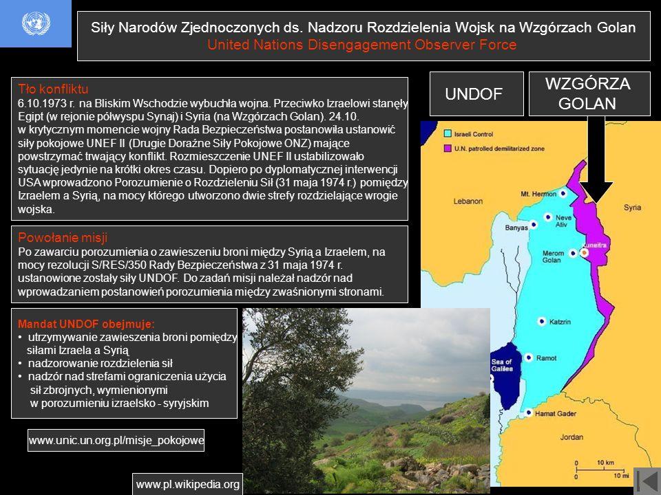 Siły Narodów Zjednoczonych ds. Nadzoru Rozdzielenia Wojsk na Wzgórzach Golan United Nations Disengagement Observer Force Powołanie misji Po zawarciu p