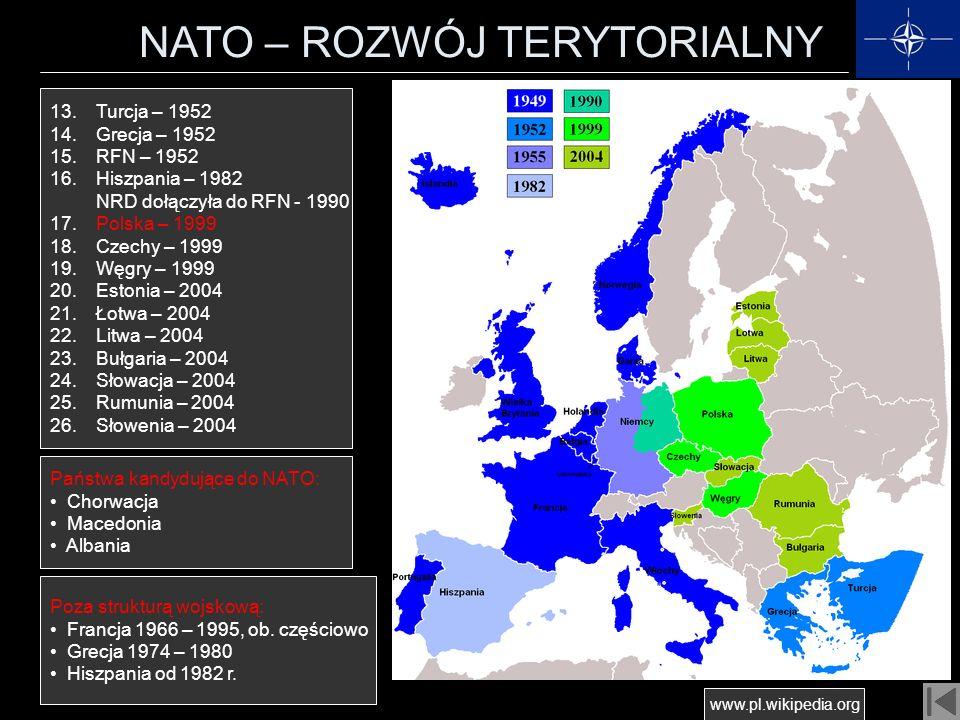 NATO – ROZWÓJ TERYTORIALNY 13. Turcja – 1952 14. Grecja – 1952 15. RFN – 1952 16. Hiszpania – 1982 NRD dołączyła do RFN - 1990 17. Polska – 1999 18. C