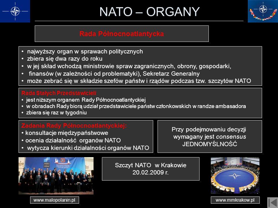 NATO – ORGANY najwyższy organ w sprawach politycznych zbiera się dwa razy do roku w jej skład wchodzą ministrowie spraw zagranicznych, obrony, gospoda
