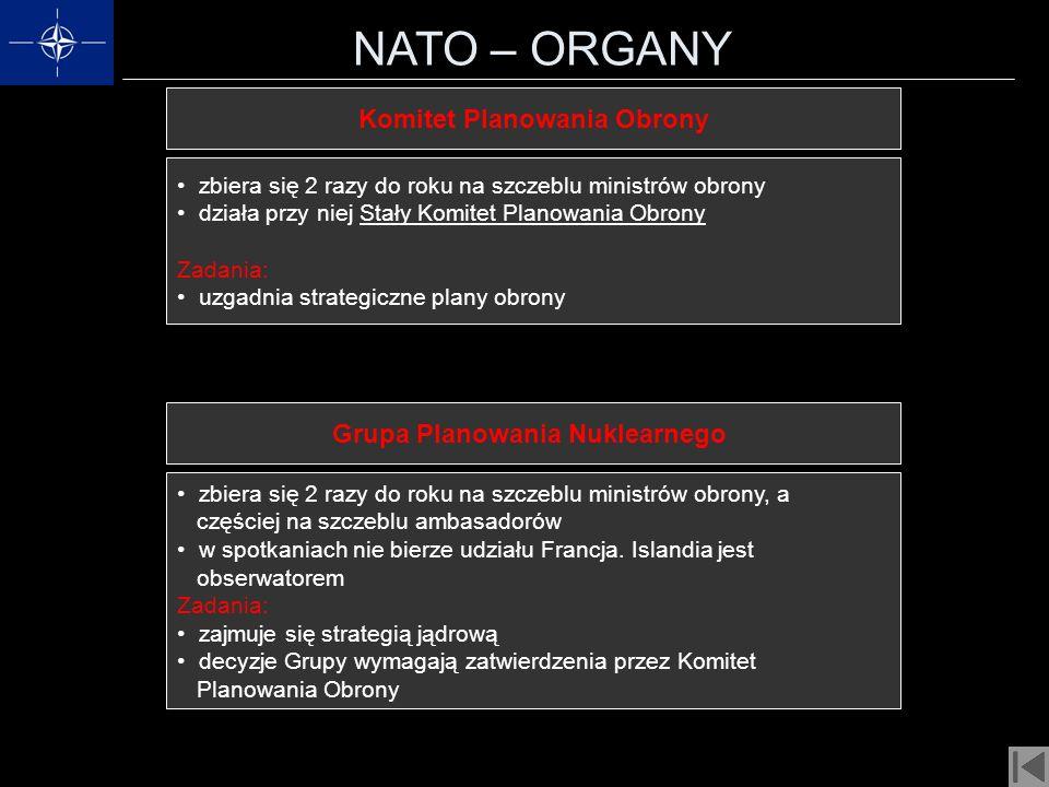 NATO – ORGANY Komitet Planowania Obrony zbiera się 2 razy do roku na szczeblu ministrów obrony działa przy niej Stały Komitet Planowania Obrony Zadani
