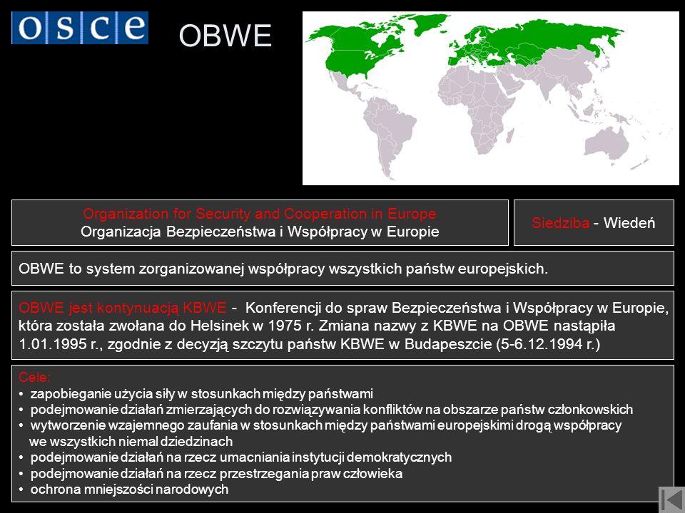 OBWE Organization for Security and Cooperation in Europe Organizacja Bezpieczeństwa i Współpracy w Europie Cele: zapobieganie użycia siły w stosunkach