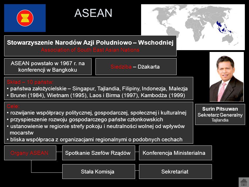 ASEAN Stowarzyszenie Narodów Azji Południowo – Wschodniej Association of South East Asian Nations Cele: rozwijanie współpracy politycznej, gospodarcze
