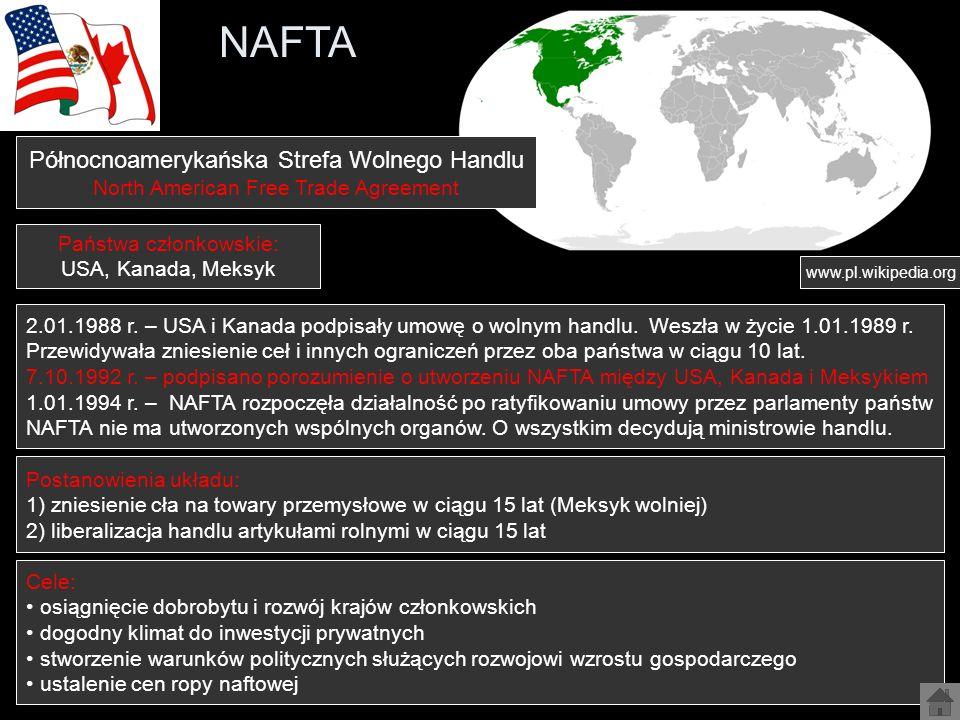 NAFTA www.pl.wikipedia.org Północnoamerykańska Strefa Wolnego Handlu North American Free Trade Agreement Państwa członkowskie: USA, Kanada, Meksyk 2.0