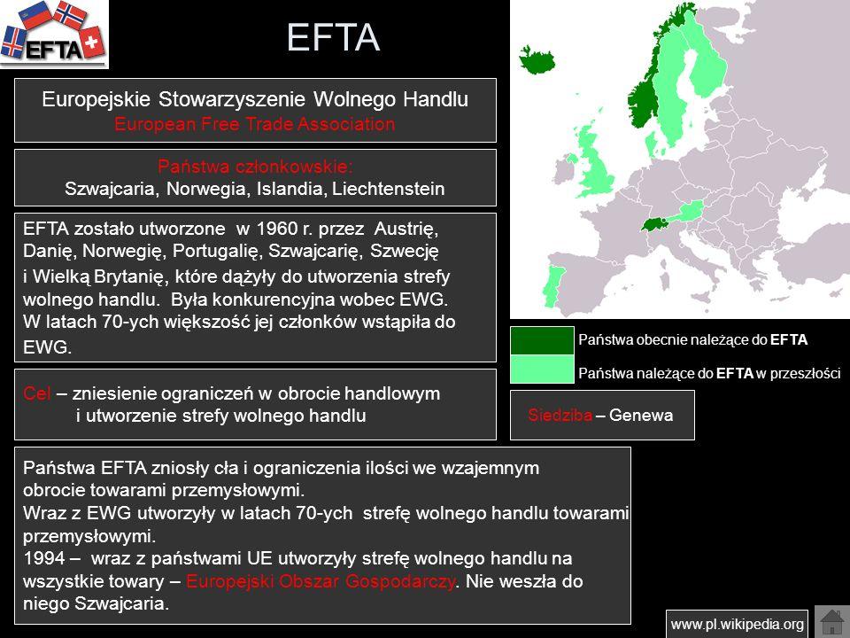 EFTA Państwa obecnie należące do EFTA Państwa należące do EFTA w przeszłości www.pl.wikipedia.org Europejskie Stowarzyszenie Wolnego Handlu European F