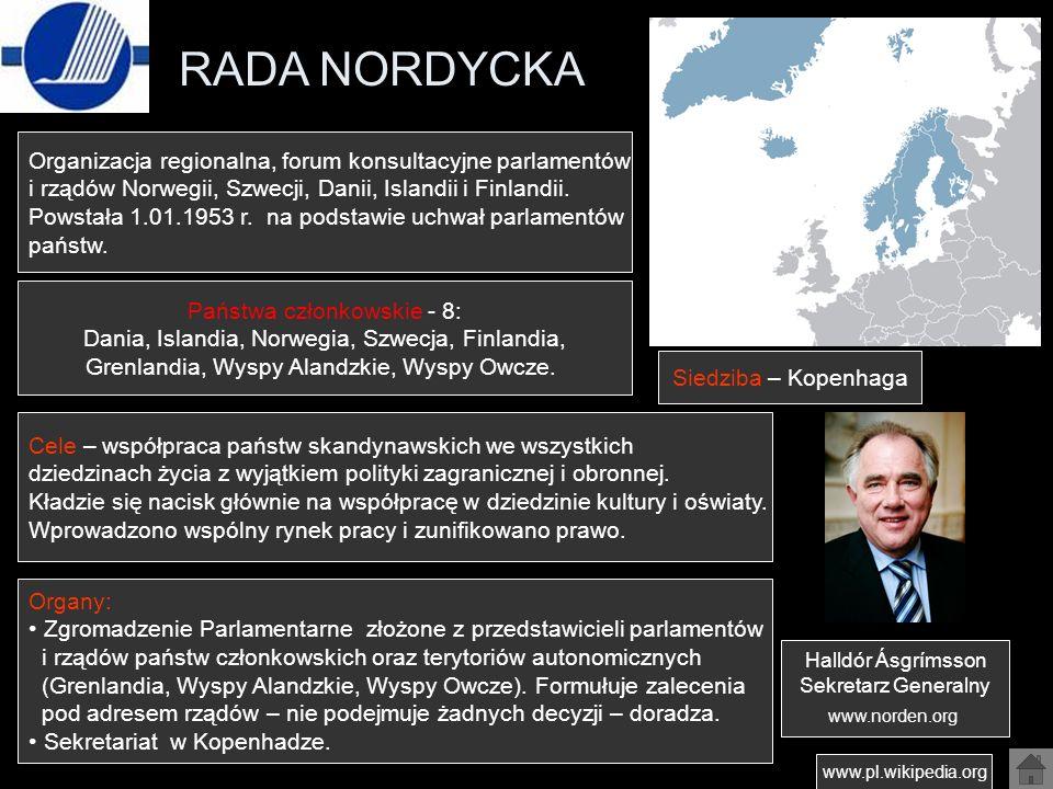 RADA NORDYCKA www.pl.wikipedia.org Organizacja regionalna, forum konsultacyjne parlamentów i rządów Norwegii, Szwecji, Danii, Islandii i Finlandii. Po