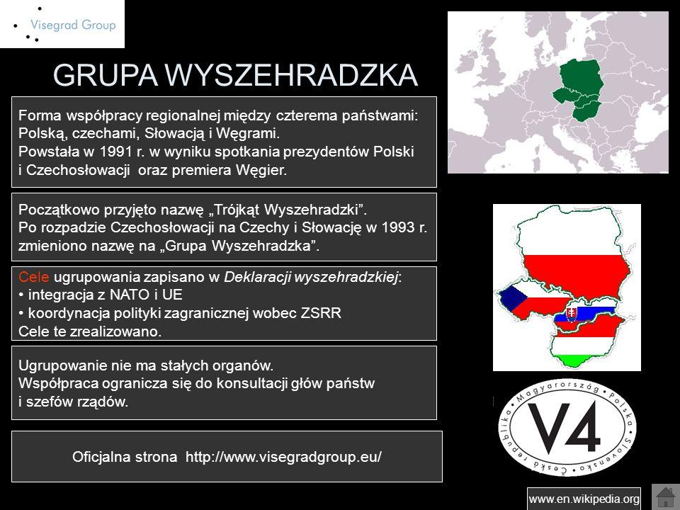 GRUPA WYSZEHRADZKA Forma współpracy regionalnej między czterema państwami: Polską, czechami, Słowacją i Węgrami. Powstała w 1991 r. w wyniku spotkania