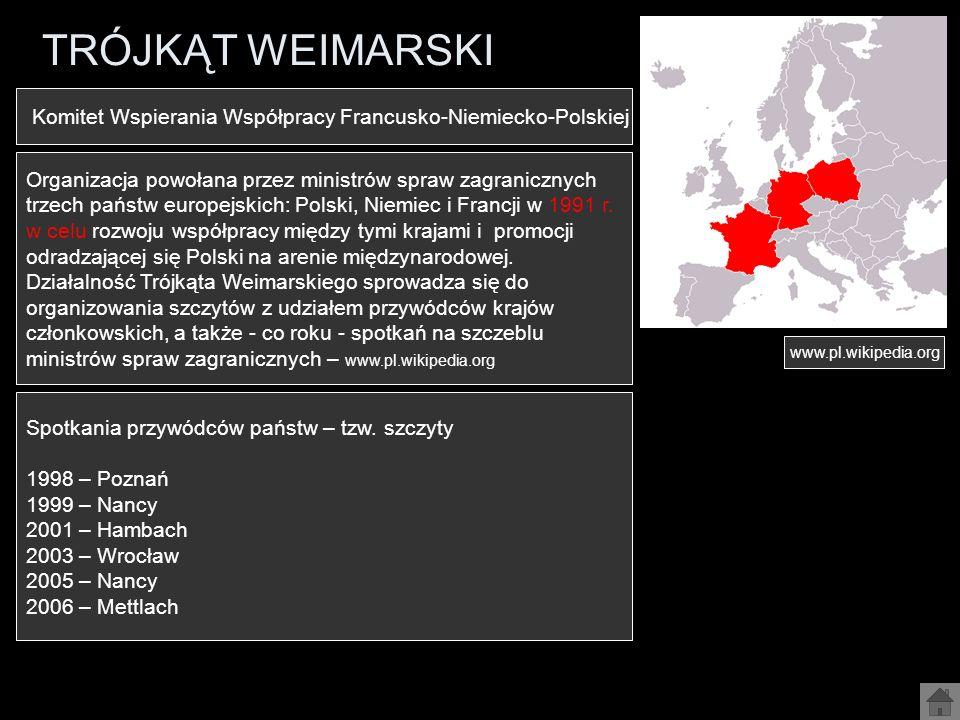 TRÓJKĄT WEIMARSKI Organizacja powołana przez ministrów spraw zagranicznych trzech państw europejskich: Polski, Niemiec i Francji w 1991 r. w celu rozw