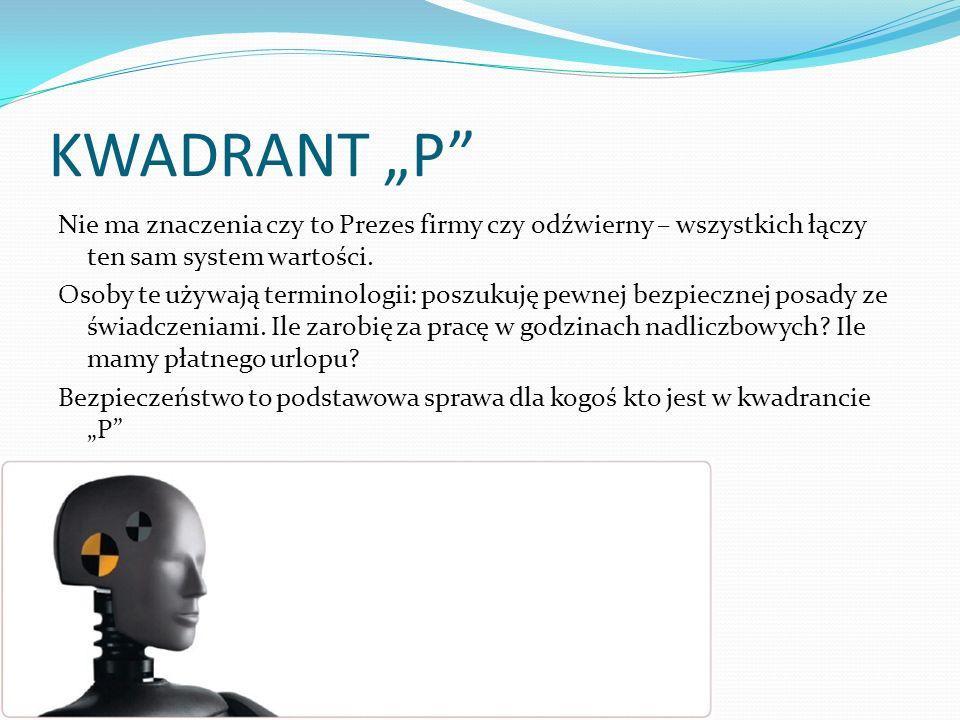 KWADRANT P Nie ma znaczenia czy to Prezes firmy czy odźwierny – wszystkich łączy ten sam system wartości. Osoby te używają terminologii: poszukuję pew