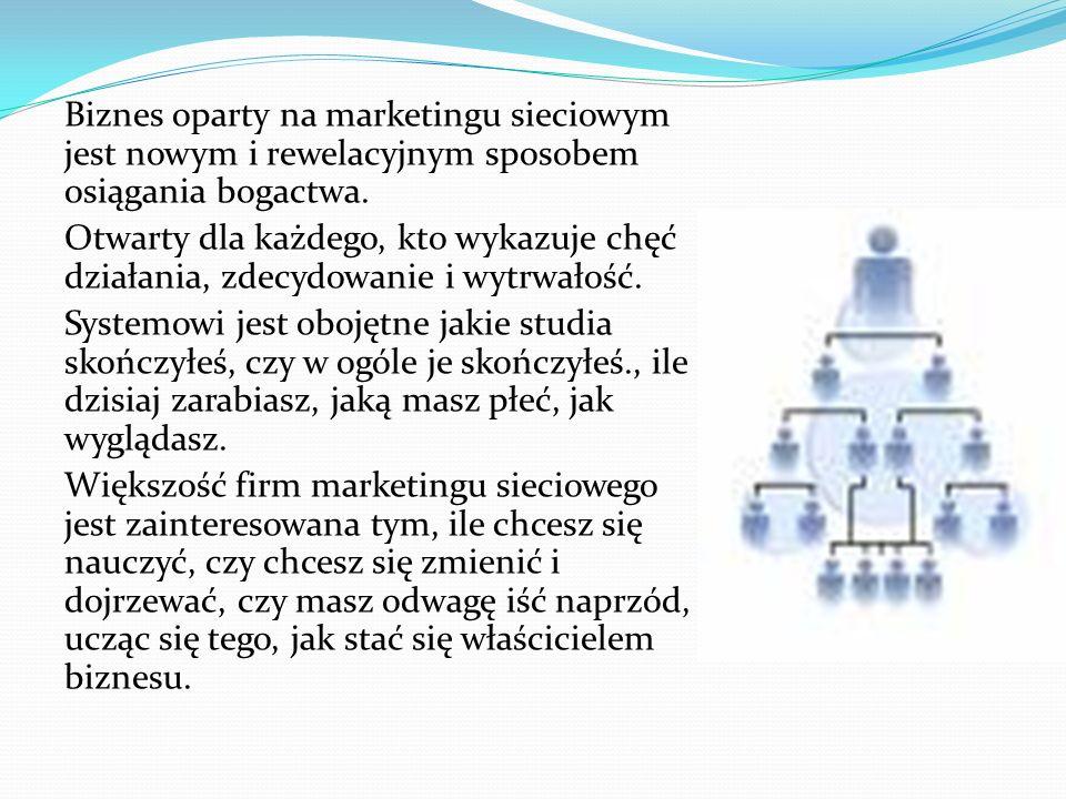Biznes oparty na marketingu sieciowym jest nowym i rewelacyjnym sposobem osiągania bogactwa. Otwarty dla każdego, kto wykazuje chęć działania, zdecydo