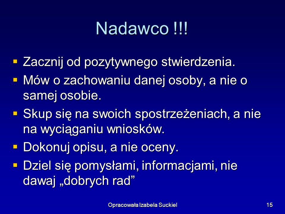 Opracowała Izabela Suckiel15 Nadawco !!! Zacznij od pozytywnego stwierdzenia. Zacznij od pozytywnego stwierdzenia. Mów o zachowaniu danej osoby, a nie