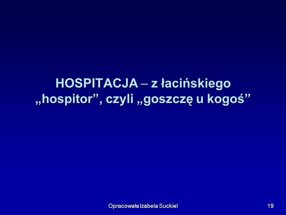 Opracowała Izabela Suckiel19 HOSPITACJA – z łacińskiego hospitor, czyli goszczę u kogoś