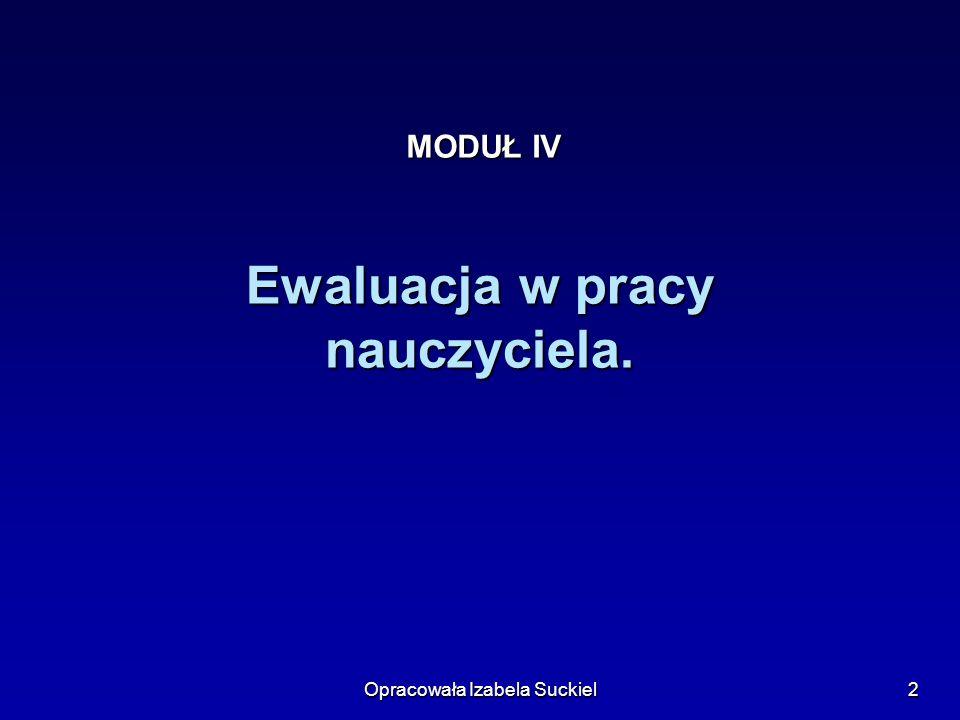 Opracowała Izabela Suckiel2 Ewaluacja w pracy nauczyciela. MODUŁ IV