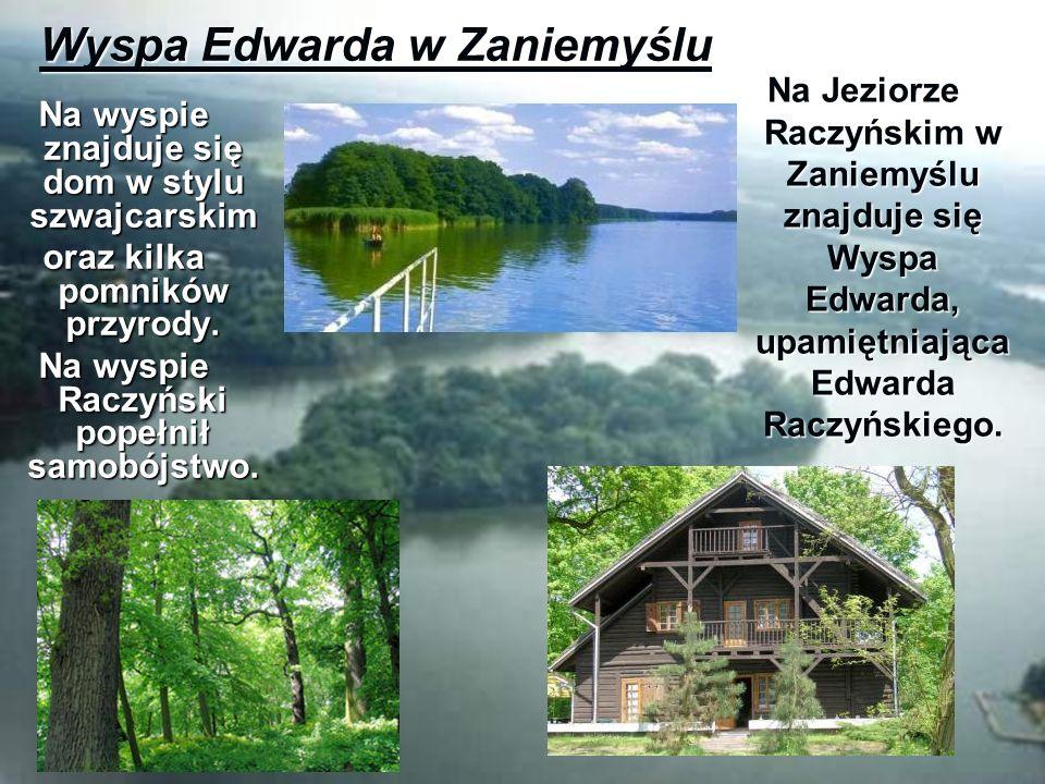 Wyspa Edwarda w Zaniemyślu Na Jeziorze Raczyńskim w Zaniemyślu znajduje się Wyspa Edwarda, upamiętniająca Edwarda Raczyńskiego. Na wyspie znajduje się