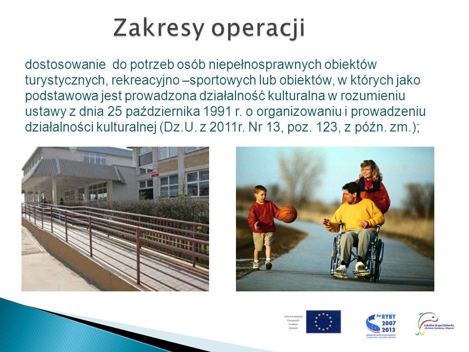 dostosowanie do potrzeb osób niepełnosprawnych obiektów turystycznych, rekreacyjno –sportowych lub obiektów, w których jako podstawowa jest prowadzona