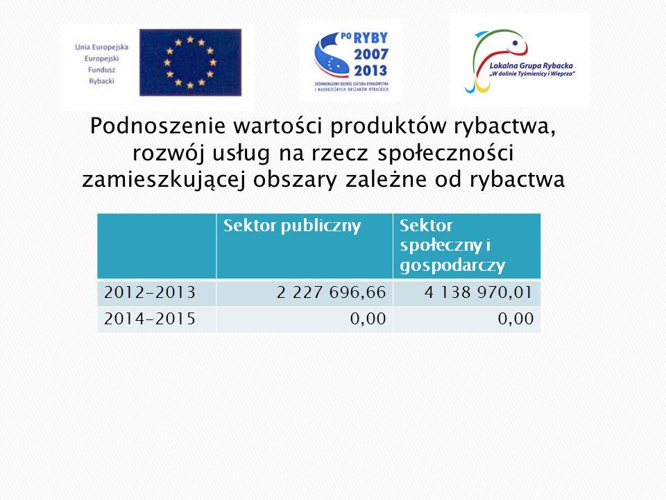 Podnoszenie wartości produktów rybactwa, rozwój usług na rzecz społeczności zamieszkującej obszary zależne od rybactwa Sektor publicznySektor społeczn