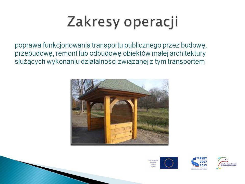 poprawa funkcjonowania transportu publicznego przez budowę, przebudowę, remont lub odbudowę obiektów małej architektury służących wykonaniu działalnoś