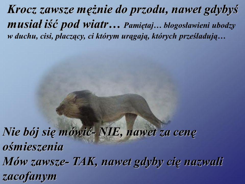 Krocz zawsze mężnie do przodu, nawet gdybyś musiał iść pod wiatr… Krocz zawsze mężnie do przodu, nawet gdybyś musiał iść pod wiatr… Pamiętaj… błogosławieni ubodzy w duchu, cisi, płaczący, ci którym urągają, których prześladują… Nie bój się mówić- NIE, nawet za cenę ośmieszenia Mów zawsze- TAK, nawet gdyby cię nazwali zacofanym