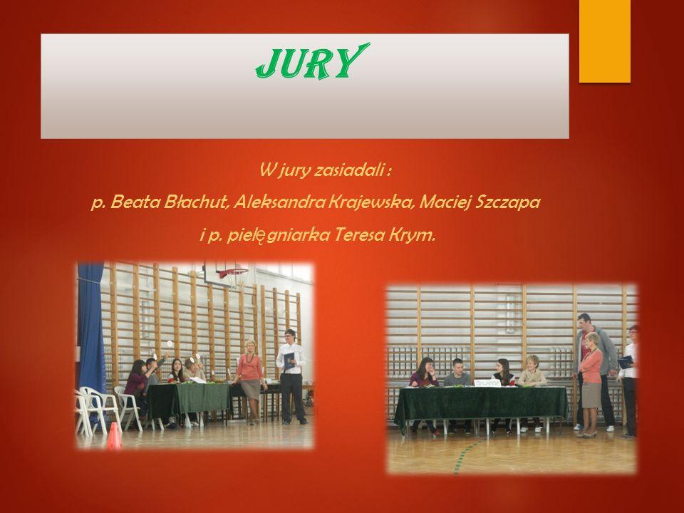 JURY W jury zasiadali : p. Beata Błachut, Aleksandra Krajewska, Maciej Szczapa i p. piel ę gniarka Teresa Krym.