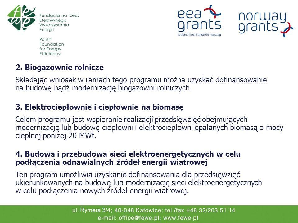 2. Biogazownie rolnicze Składając wniosek w ramach tego programu można uzyskać dofinansowanie na budowę bądź modernizację biogazowni rolniczych. 3. El