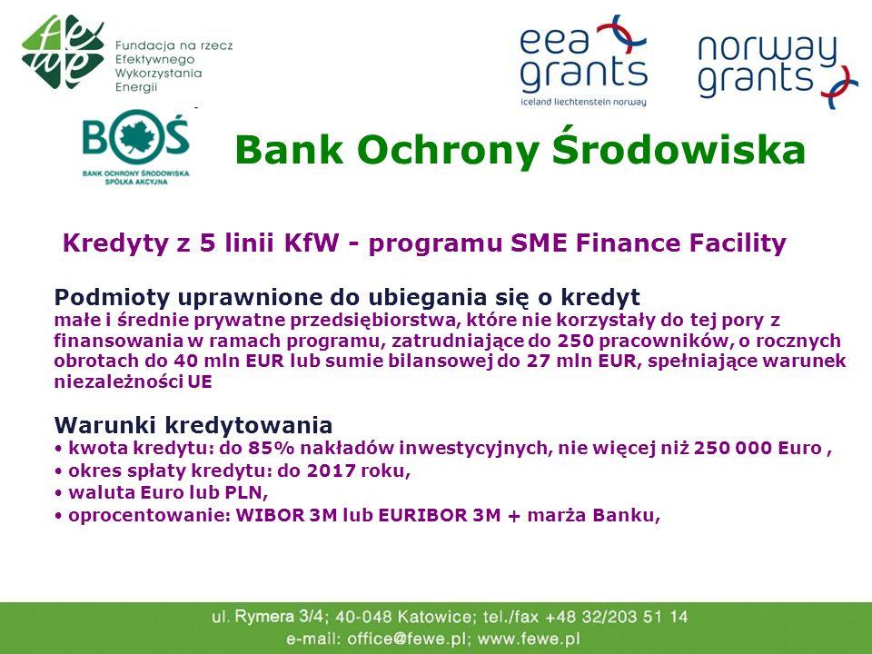 Bank Ochrony Środowiska Kredyty z 5 linii KfW - programu SME Finance Facility Przedmiot kredytowania: Odnawialne źródła energii, Termomodernizacja obi