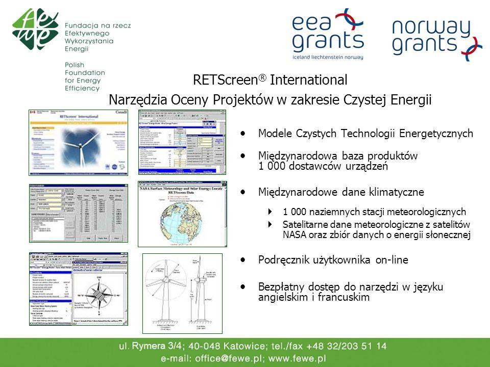 Modele Czystych Technologii Energetycznych Międzynarodowa baza produktów 1 000 dostawców urządzeń Międzynarodowe dane klimatyczne 1 000 naziemnych sta