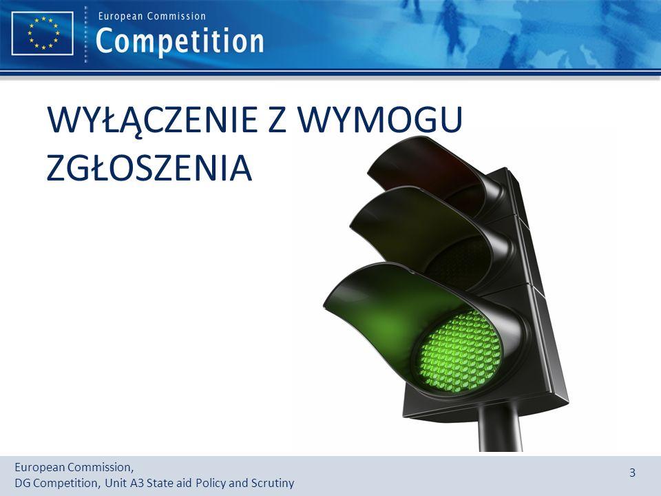 European Commission, DG Competition, Unit A3 State aid Policy and Scrutiny 3 WYŁĄCZENIE Z WYMOGU ZGŁOSZENIA