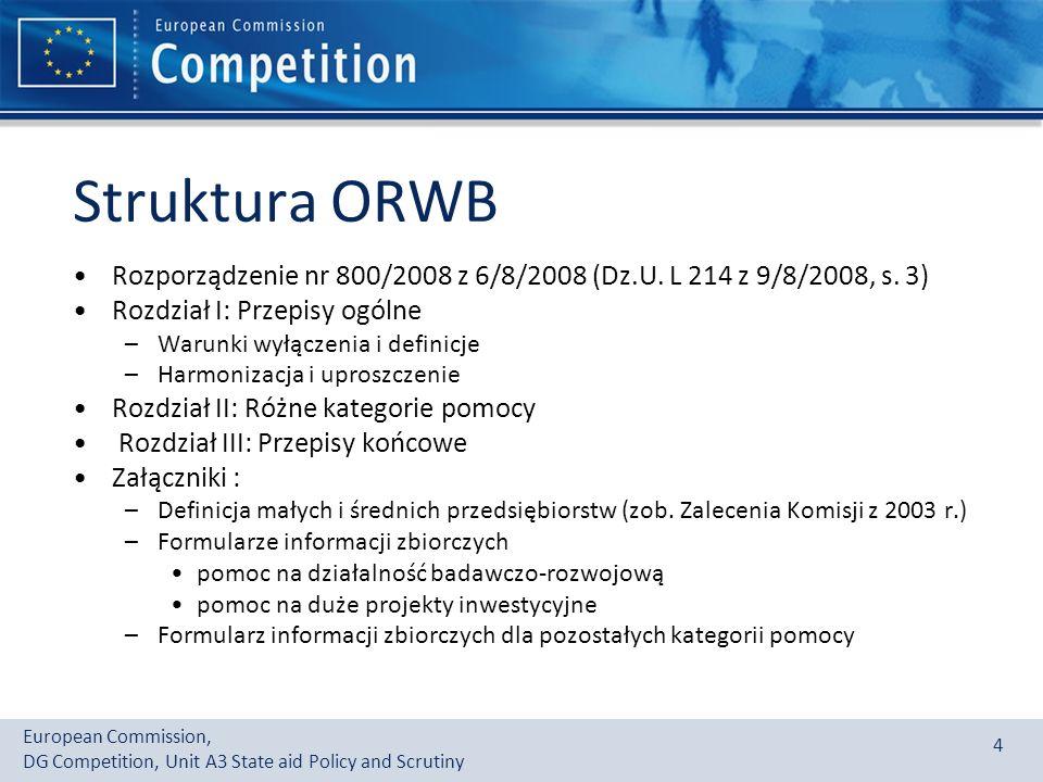 European Commission, DG Competition, Unit A3 State aid Policy and Scrutiny 4 Struktura ORWB Rozporządzenie nr 800/2008 z 6/8/2008 (Dz.U.