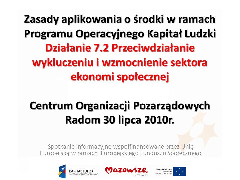 Poddziałanie 7.2.2 Wsparcie ekonomi społecznej Przykładowe rodzaje projektów (1/2) wsparcie dla osób fizycznych zamierzających rozpocząć prowadzenie działalności gospodarczej w formie spółdzielni socjalnej poprzez zastosowanie w ramach projektu co najmniej dwóch z następujących instrumentów(2): doradztwo (indywidualne i grupowe) oraz szkolenia umożliwiające uzyskanie wiedzy i umiejętności potrzebnych do założenia i/lub prowadzenia spółdzielni socjalnej przyznanie środków finansowych na założenie i/lub przystąpienie do spółdzielni socjalnej – o ile wszyscy członkowie są osobami, które rozpoczęły prowadzenie działalności lub przystąpiły do spółdzielni socjalnej w wyniku uczestnictwa w projekcie, do wysokości 20 tys.